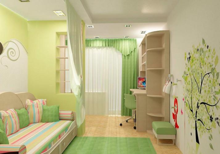 Дизайн и декор детской комнаты в зеленом цвете