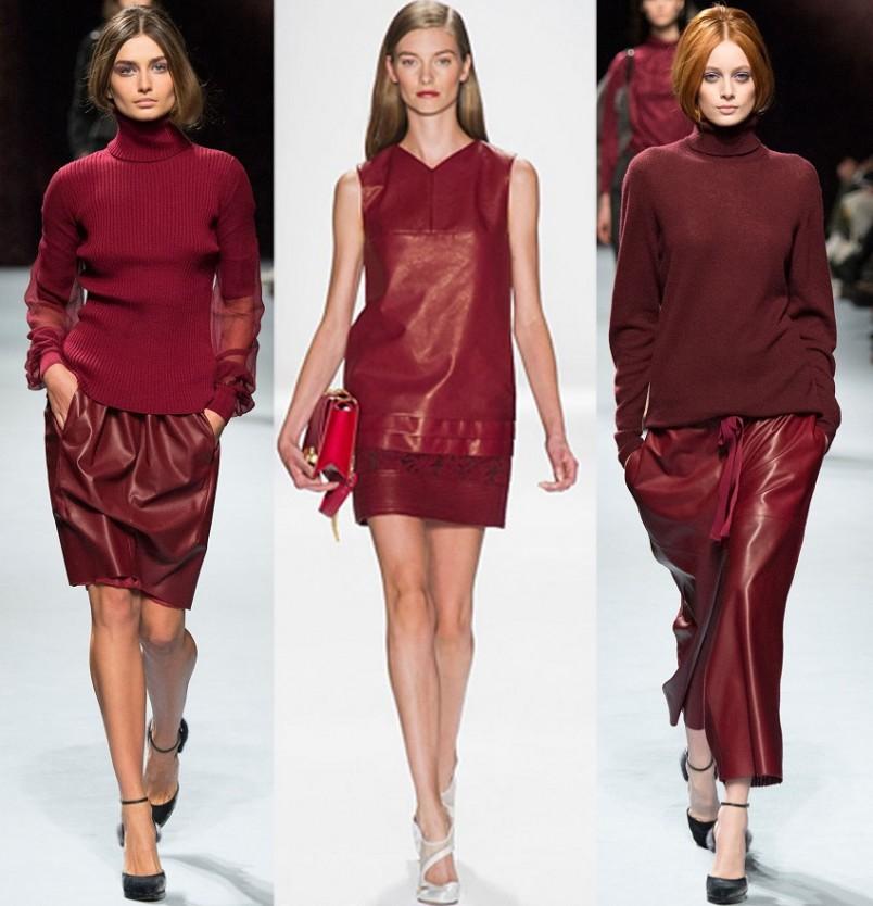 Наряд из ткани насыщенного красного цвета, модного в 2016 году, подойдет смелым и раскованным девушкам.