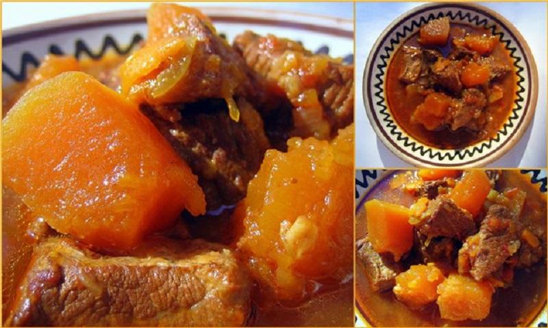 Гуляш из говядины с тыквой можно подавать как самостоятельное блюдо, так и с гарниром.