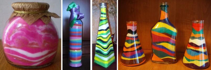 Декорированные бутылки станут отличным украшением интерьера.