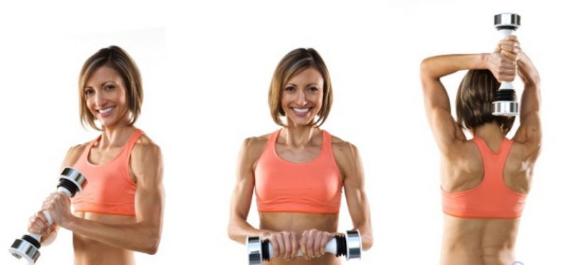 Если цель тренировок – похудение, то упражнения с гантелями весом 2-5 кг подойдут как нельзя лучше.