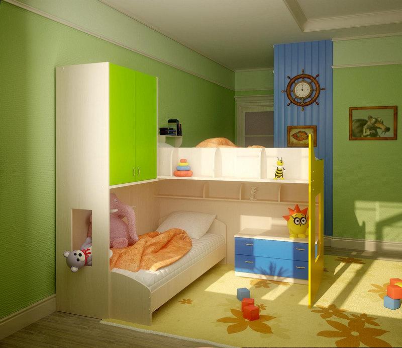Двухъярусные кровати – идеальное решение для маленькой деткой комнаты.