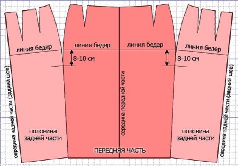 Рисунок 3. Базовая выкройка юбки карандаш с 1 швом.