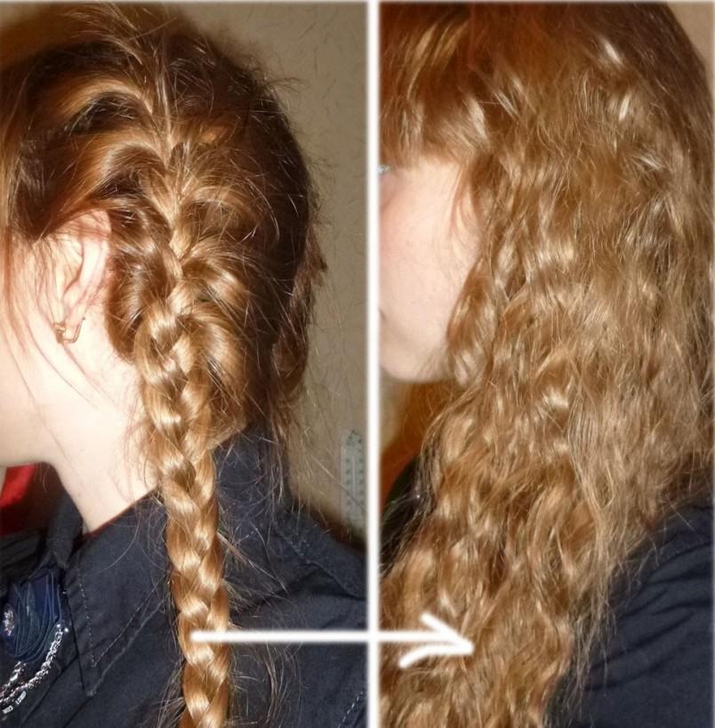 Самый известный способ – обыкновенная косичка или колосок. Все девушки замечали, что после того, как волосы побудут какое-то время туго связанные в косичку, они становятся волнистыми.