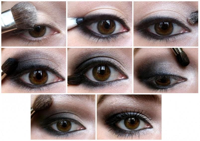 Вечерний макияж для карих глаз.